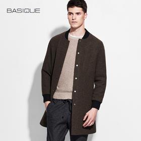 元本BASIQUE 棒球领大衣 羊毛呢男士秋外套秋中长款修身休闲呢子
