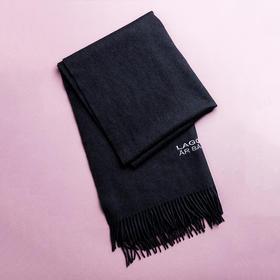 Peace 大方灰色绣花牦牛绒围巾