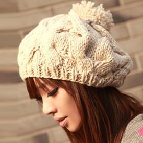 【贝雷帽】*冬季女士帽子韩版可爱秋冬季女保暖南瓜帽麻花毛线帽子大球贝雷帽 | 基础商品