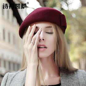 【贝雷帽】秋冬季女画家帽子保暖羊毛呢礼帽子女士欧美贝雷帽空姐礼帽