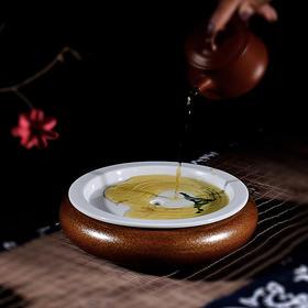 壶承壶托干泡台陶瓷手绘干泡小号茶盘圆形储水盂日式功夫茶具配件