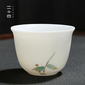 中式轻奢雅致茶器 德化白瓷四君子品茗杯