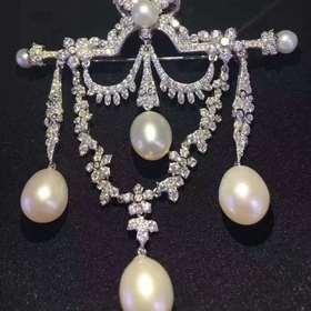 宙斯的欢愉925银镶锆镶珍珠胸针
