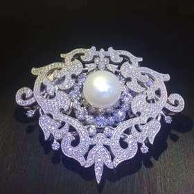 相见欢925银镶锆镶珍珠系列胸针