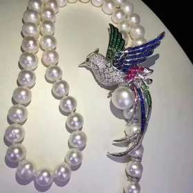 凤栖梧925银镶锆镶珍珠胸针