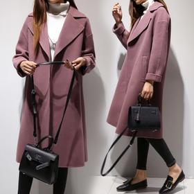天天特价冬装新款韩国气质过膝中长款毛呢外套女呢大衣大码宽松