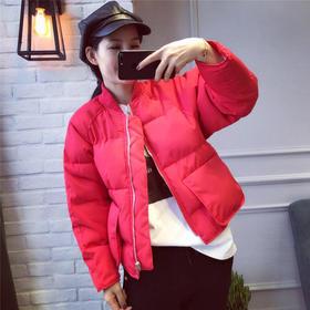 2017秋冬新款女装韩版宽松立领大口袋拉链短款羽绒棉衣外套女上衣