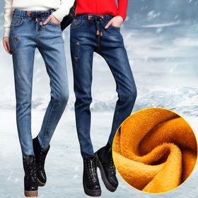 高腰加绒牛仔裤女冬长裤宽松显瘦大码哈伦裤松紧腰弹力加厚保暖裤