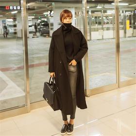 毛呢外套女中长款2017冬季新款韩版女装长款过膝修身直筒呢子大衣