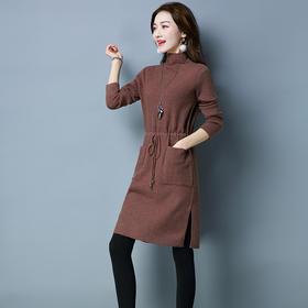 秋冬高领毛衣连衣裙女2017新款宽松中长款收腰针织打底衫