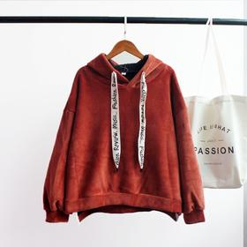 chic原宿风加绒上衣2017新款冬装字母织带套头宽松韩版潮学生卫衣