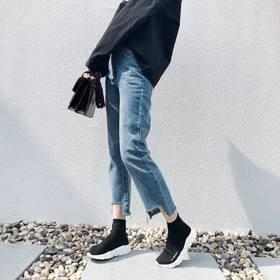 不规则裤脚直筒牛仔裤女九分裤2017秋冬宽松韩版chic高腰裤子港味