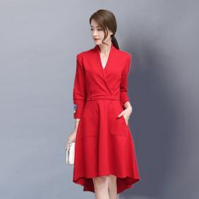 秋装女2017新款红色连衣裙长袖秋冬季加厚裙韩版修身打底针织裙子