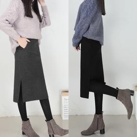 秋冬新款高腰毛呢半身裙修身显瘦包臀裙中长开叉一步裙加绒厚 女