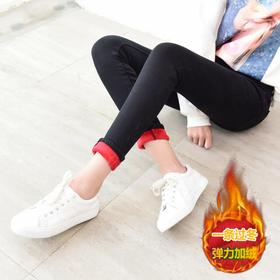 加绒牛仔裤女高腰秋冬新款加厚长裤黑色小脚牛仔裤弹力紧身铅笔裤