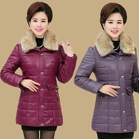 中年妈妈pu皮棉衣女冬装中长款4050岁中老年人大码新款棉袄厚外套