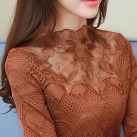 加绒加厚蕾丝打底衫t恤女长袖小衫中长款 冬季百搭保暖网纱上衣潮
