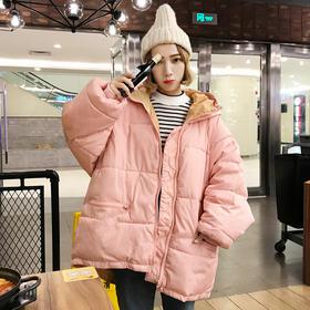 冬季棉服女韩版学生宽松百搭中款2017新款潮袄子冬装面包服蝙蝠袖