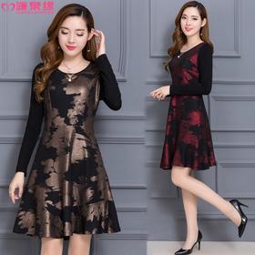 2017秋季新款妈妈装连衣裙长袖中长款韩版修身中年妇女裙子