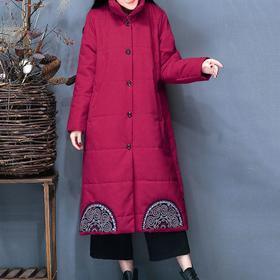 2017冬装新款大码女文艺印花显瘦立领加厚保暖中长款棉衣棉服外套