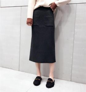 秋冬新款韩版高腰两口袋开叉显瘦百搭中长款针织半身裙女A字裙子