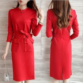 红色连衣裙秋冬款2017新款欧美高腰修身大口袋蝴蝶结长袖包臀裙女