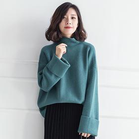MOYU2017秋冬新款韩版宽松针织衫女半高领喇叭袖长款套头毛衣大码