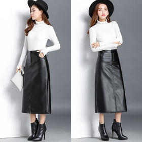 包裙PU皮半身裙新款小皮裙中长款a字裙高腰显瘦包臀裙长裙秋冬裙
