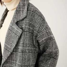 2017冬装新款韩版复古格子毛呢大衣女装秋冬季韩版中长款呢子外套