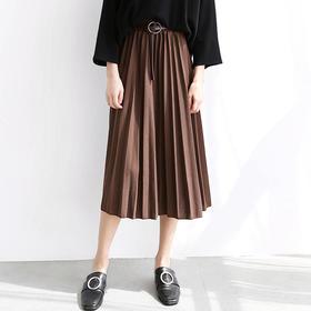 半身裙秋季中长款百褶裙冬天女2017新款韩版松紧腰时尚半身长裙子