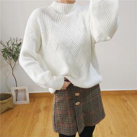 秋冬新款女装韩版宽松菱形百搭学生纯色打底针织毛衣灯笼袖上衣女