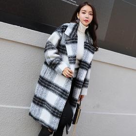 格子毛呢大衣女中长款2017冬新款韩版宽松加厚过膝黑白格呢子外套