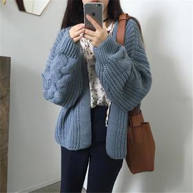 秋装韩版复古加厚蝙蝠袖毛衣外套女上衣宽松短款长袖针织衫开衫潮