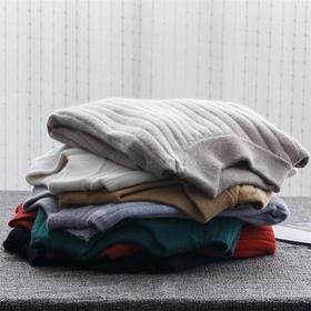 2017半高领羊毛衫女秋冬新款韩版坑条套头宽松百搭针织衫打底毛衣