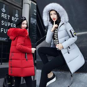 冬季棉服女中长款大毛领棉衣韩版修身保暖加厚棉袄外套潮