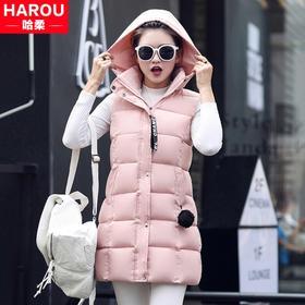 青少年秋冬装少女韩版中长款羽绒棉服马甲棉衣背心马夹外套中学生