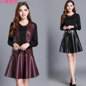 2017秋冬季新款中年女装两件套PU皮连衣裙显瘦气质妈妈装套装裙