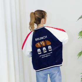 2017春装新款休闲时尚拼色刺绣棒球服 宽松薄款短外套女春秋夹克