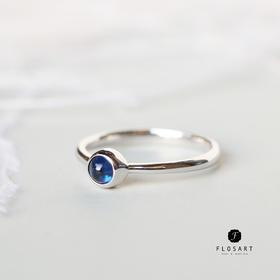 气泡素面蓝宝石戒指 18k金 圣诞新年礼物