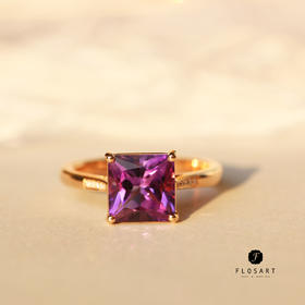 紫梦方形紫水晶钻石戒指 18k金