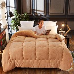 羊羔绒被芯  冬被芯加厚保暖丝棉被单羊绒驼绒被