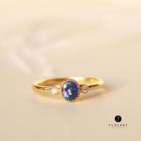 复古双钻蓝宝石戒指 18k金