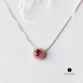 花舞红宝石钻石项链 18k玫瑰金 圣诞新年礼物