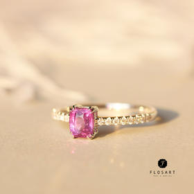 粉色佳人紫蓝宝石钻石女戒 18k金