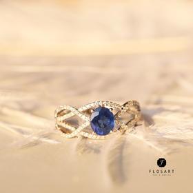 韵律蓝宝石钻石戒指 18k金