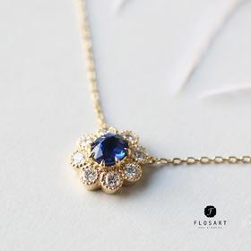皇家蓝宝石钻石雪花项链 圣诞新年礼物 18k金镶嵌