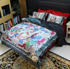 意大利进口100支奢华海岛棉数码印花四件套纯棉被套高档床上用品