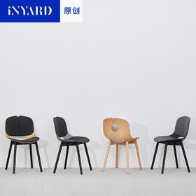 [InYard原创]两伴椅/美国进口1级榉木实木餐椅办公家用设计师坐椅
