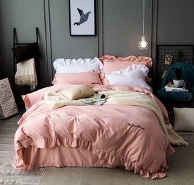 纯色加厚全棉磨毛四件套 纯棉韩版花边床上套件床单被套床品秋冬