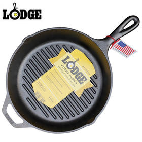 Lodge洛极美国铸铁条纹牛排煎锅26cm进口无涂层储热好不易粘锅